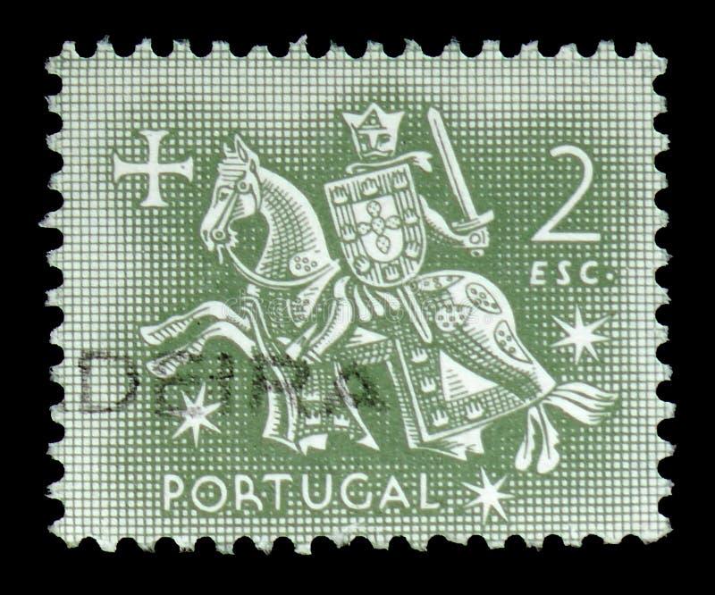 Cavaleiro a cavalo (do selo do rei Dinis), selo equestre do serie do rei Diniz, cerca de 1953 fotos de stock royalty free