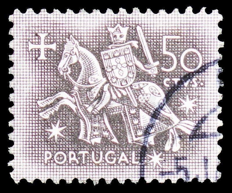 Cavaleiro a cavalo do selo do rei Dinis, selo equestre do serie do rei Diniz, cerca de 1953 fotos de stock