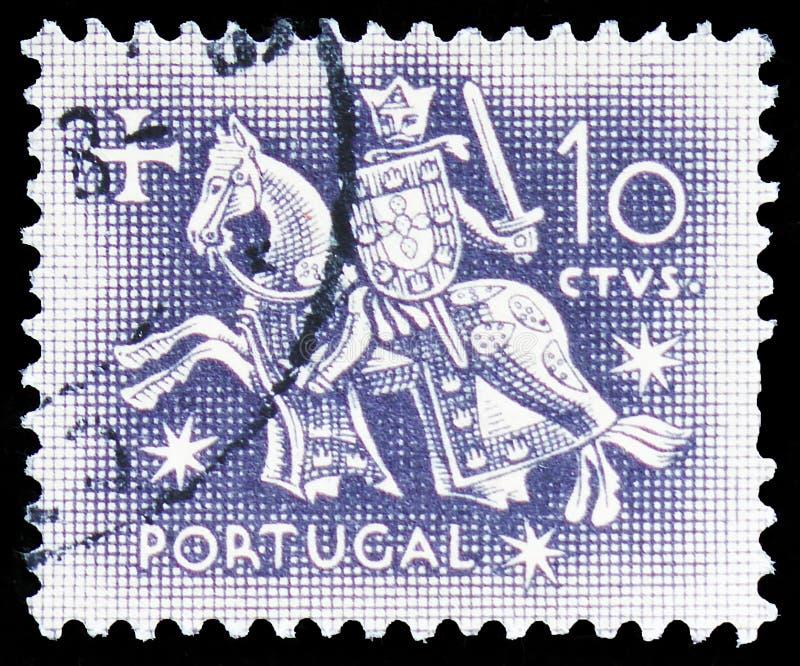 Cavaleiro a cavalo do selo do rei Dinis, selo equestre do serie do rei Diniz, cerca de 1953 imagem de stock royalty free