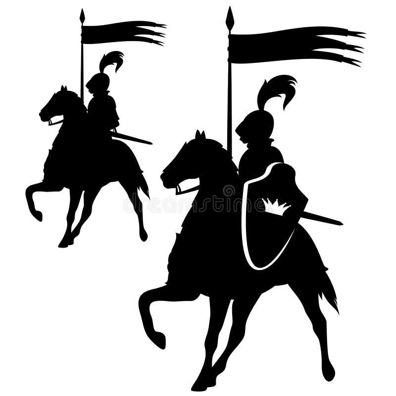 Cavaleiro com grupo do projeto da bandeira ilustração royalty free