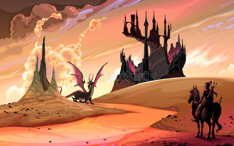 Cavaleiro com o cavalo contra o dragão ilustração do vetor