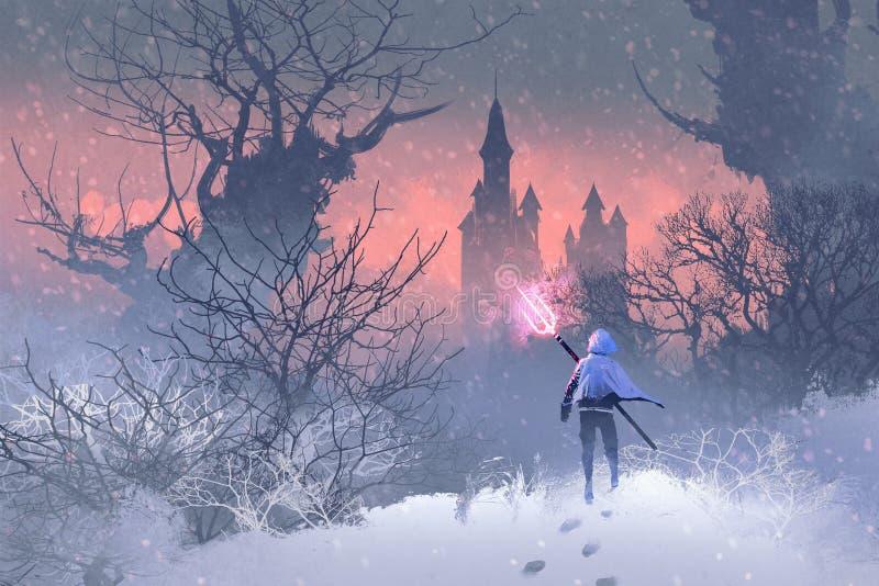 Cavaleiro com o tridente na paisagem do inverno ilustração do vetor