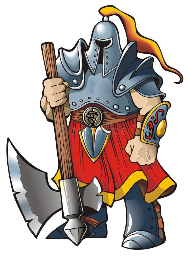 Cavaleiro com um machado ilustração do vetor