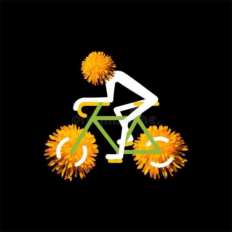 Cavaleiro da bicicleta com as rodas da flor do dente-de-leão no preto Ilustra??o do vetor ilustração stock
