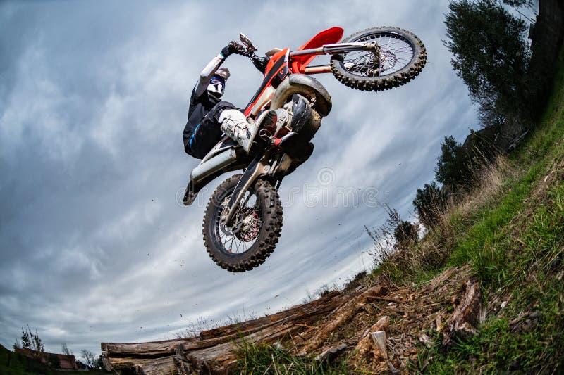 Cavaleiro da bicicleta de Enduro fotos de stock royalty free