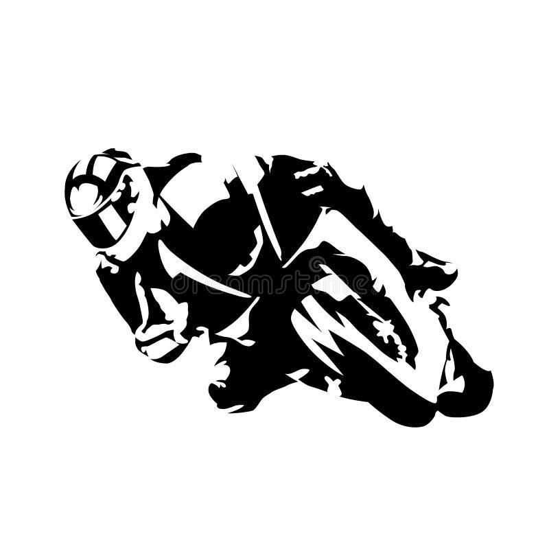 Cavaleiro da motocicleta da estrada, silhueta abstrata do vetor ilustração do vetor