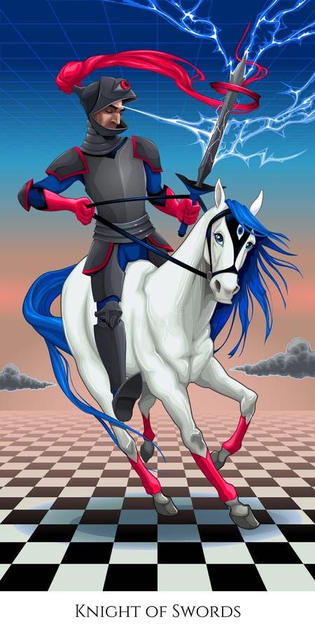 Cavaleiro das espadas, cartão de tarô ilustração royalty free