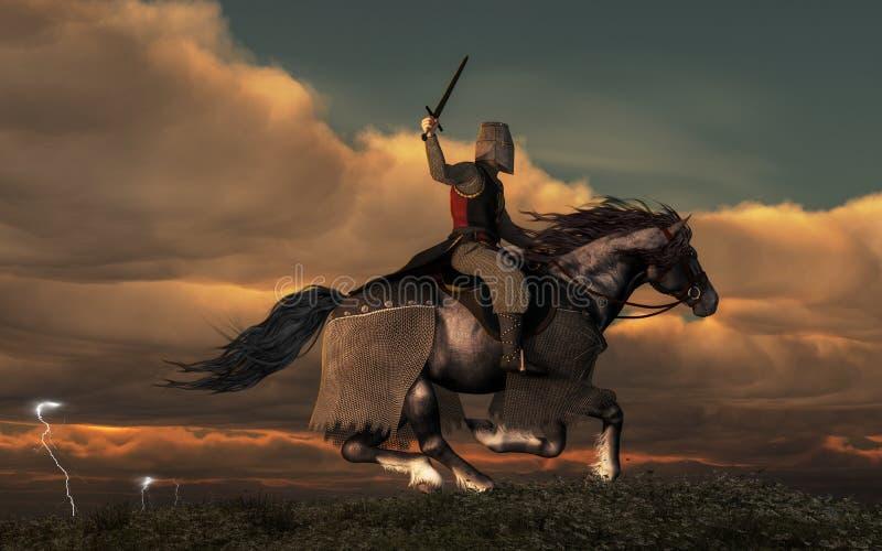 Cavaleiro de carregamento ilustração royalty free