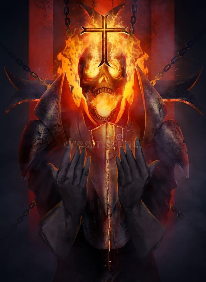 Cavaleiro de esqueleto ilustração royalty free