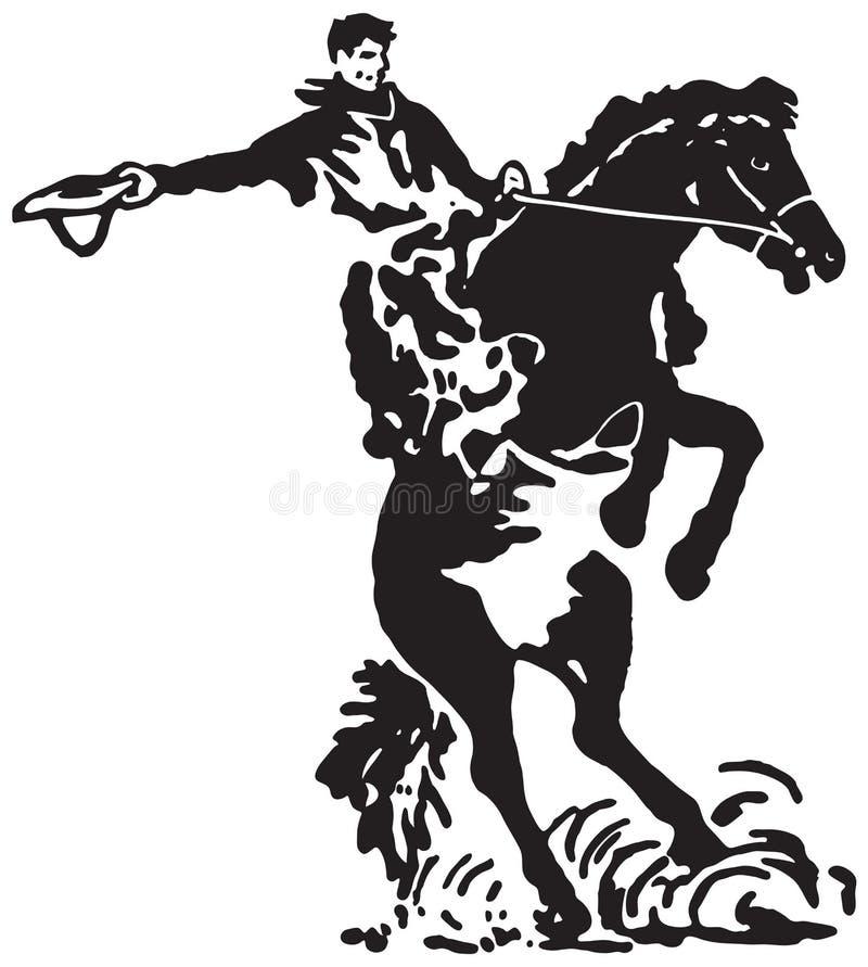 Cavaleiro de rodeio 3 ilustração stock