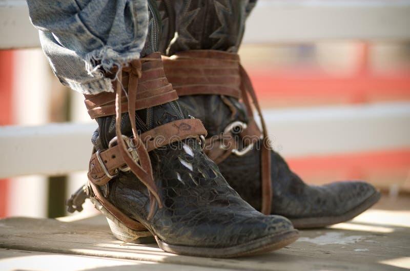 Cavaleiro de rodeio de Boots Brown Leather do vaqueiro foto de stock