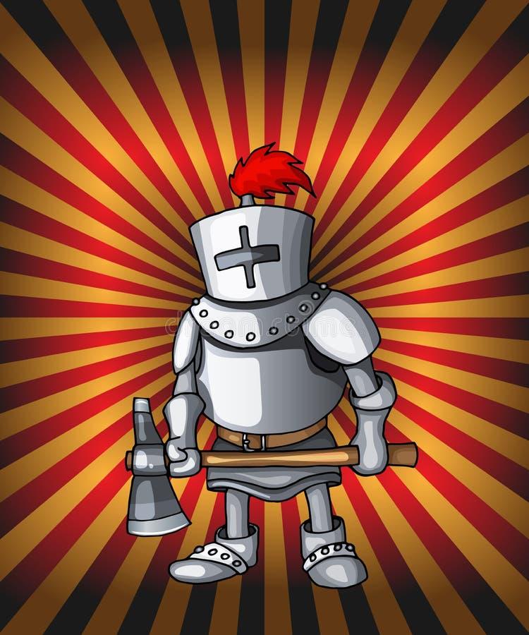 Cavaleiro do cartão dos desenhos animados Armadura de aço real do cruzado em luzes vermelhas de brilho ilustração royalty free