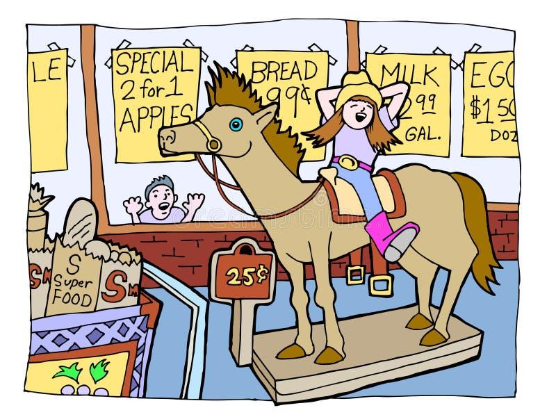 Cavaleiro do cavalo da mercearia ilustração do vetor