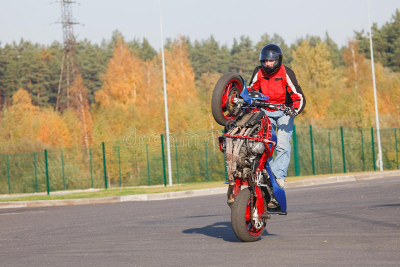 Cavaleiro do conluio que faz o wheelie fotografia de stock royalty free