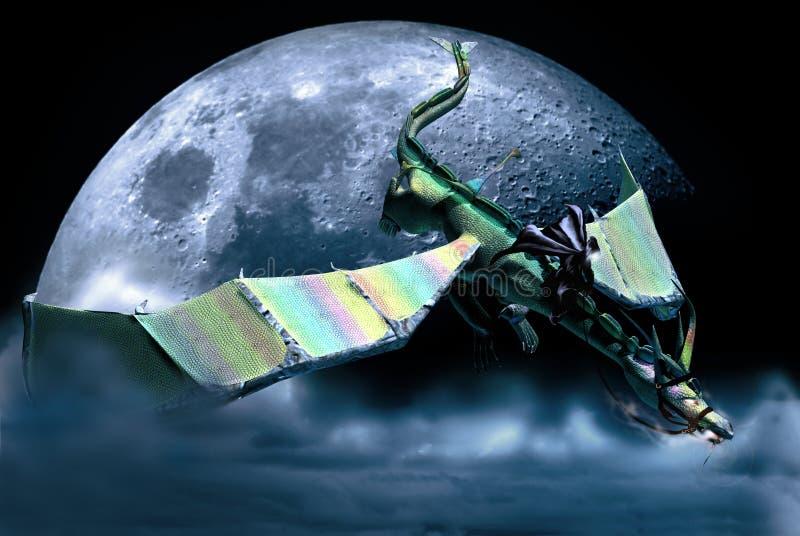 Cavaleiro do dragão sob a lua ilustração do vetor