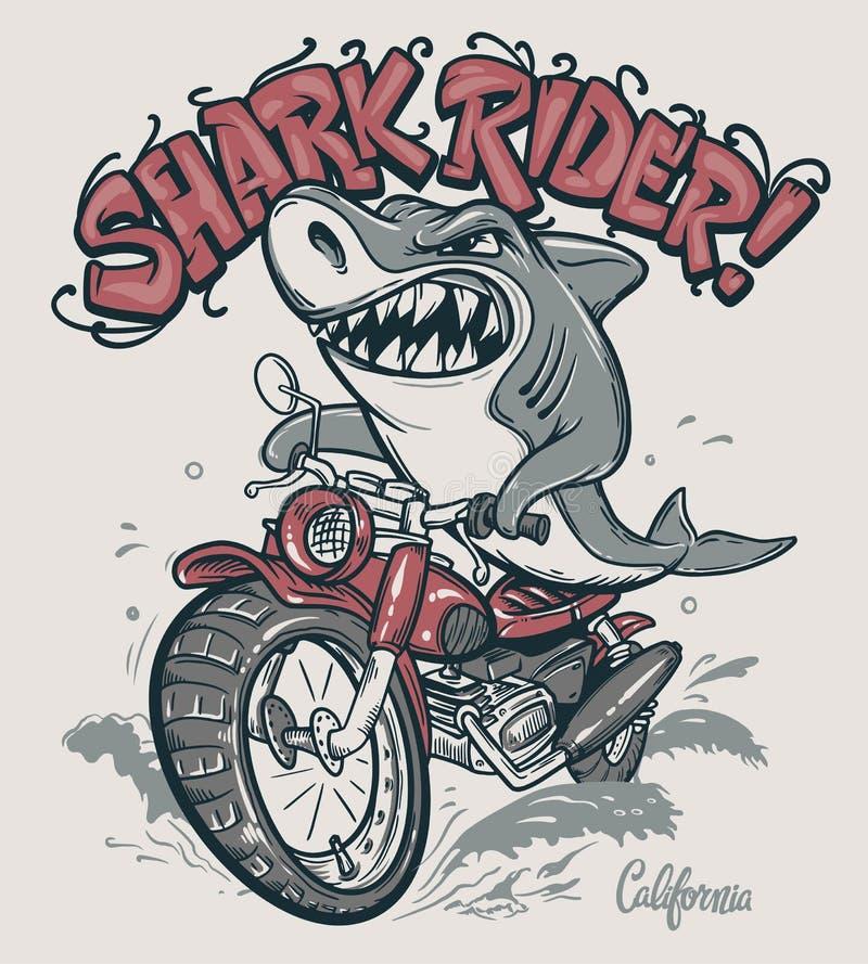 Cavaleiro do tubarão no projeto do t-shirt do vetor da motocicleta ilustração do vetor