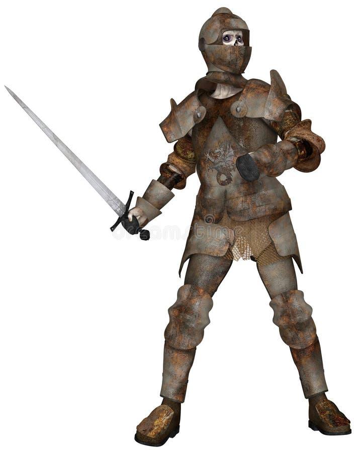Cavaleiro do zombi do vivo na pose de ataque ilustração stock