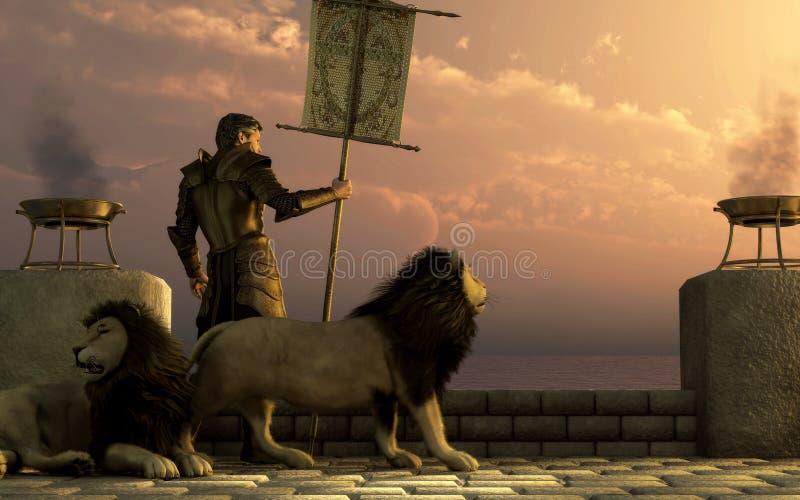 Cavaleiro dos leões ilustração royalty free