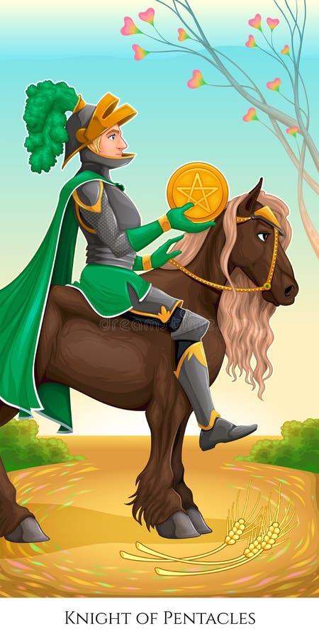 Cavaleiro dos pentacles ilustração royalty free