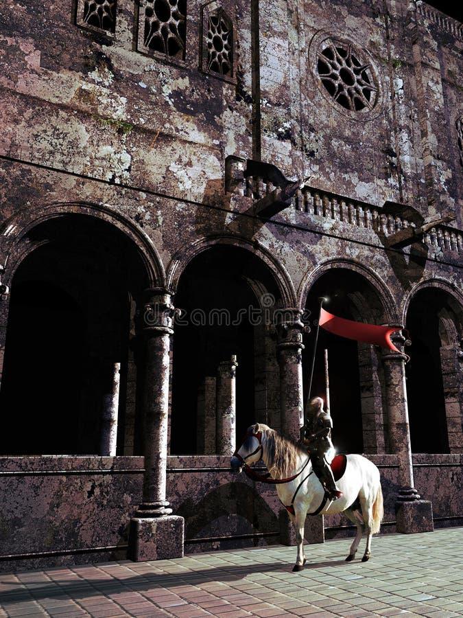 Cavaleiro e catedral ilustração stock