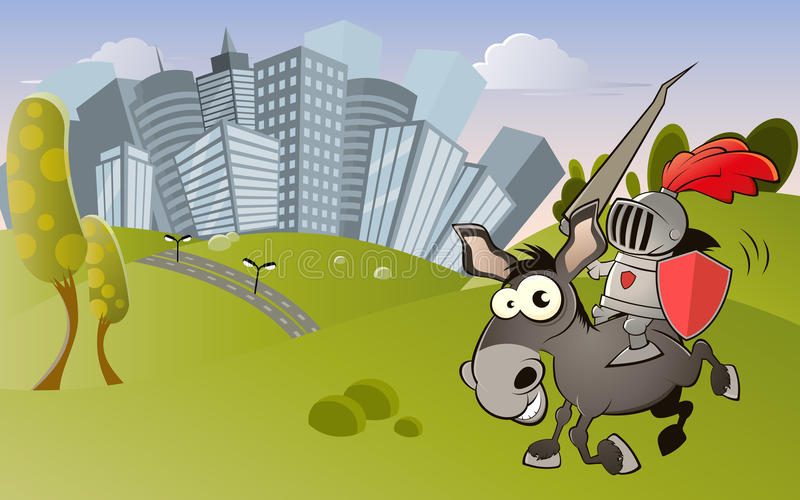 Cavaleiro e cidade moderna ilustração do vetor