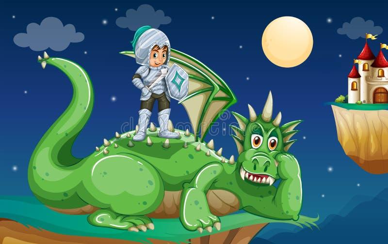 Cavaleiro e dragão ilustração stock