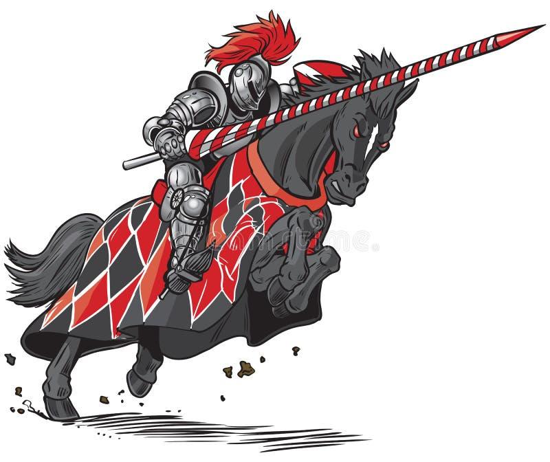 Cavaleiro em desenhos animados Jousting do vetor do cavalo ilustração royalty free
