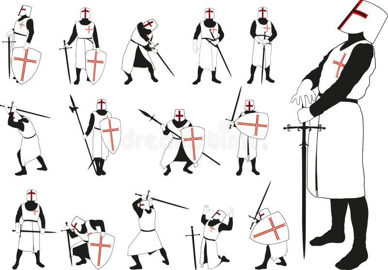 Cavaleiro em poses diferentes ilustração do vetor