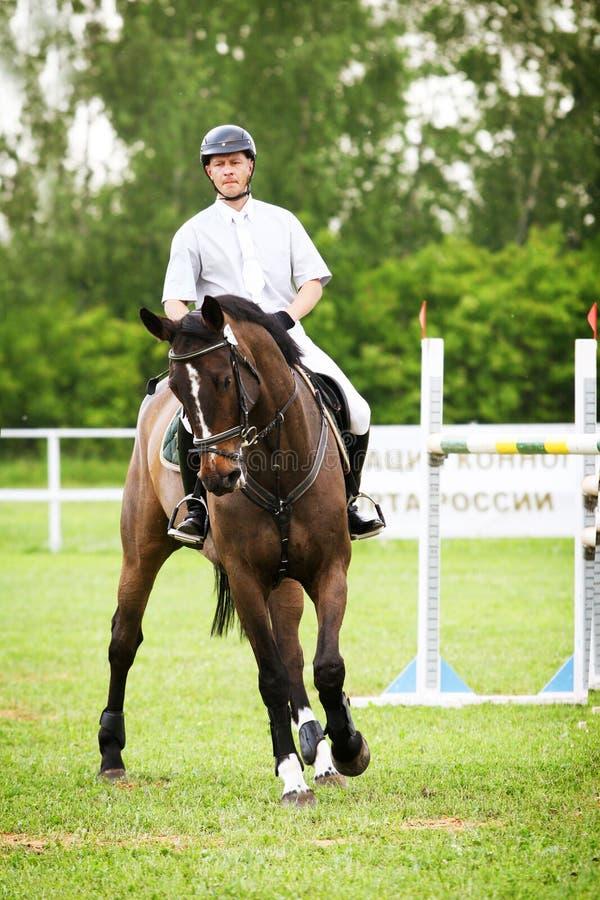 Cavaleiro em um cavalo de raça fotografia de stock