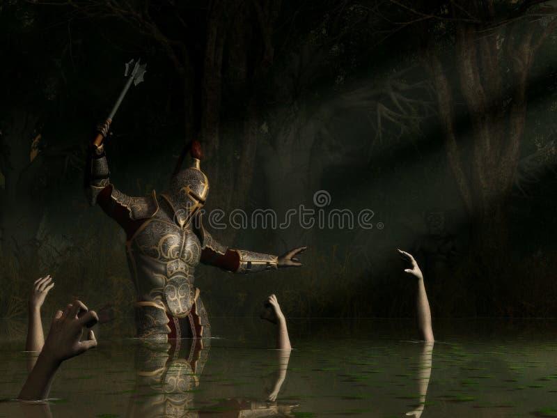 Cavaleiro em um pântano assombrado ilustração royalty free