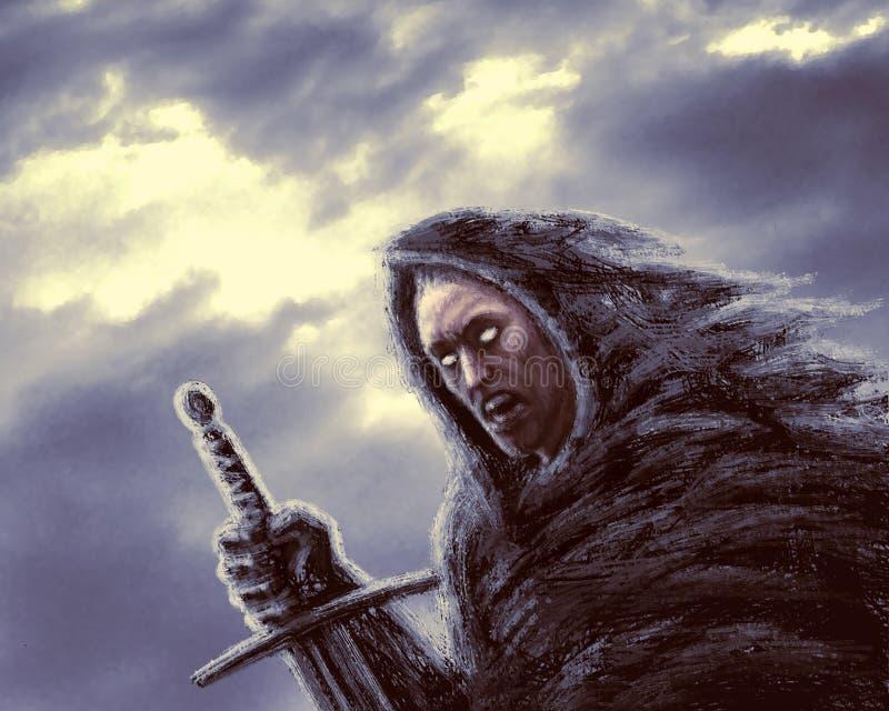 Cavaleiro escuro irritado com espada Gênero da fantasia ilustração stock