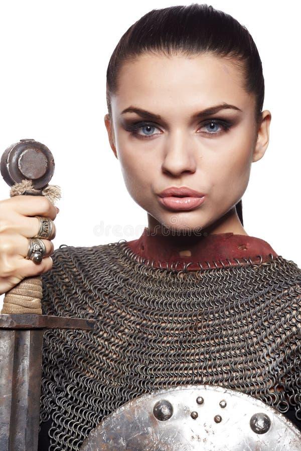 Cavaleiro fêmea na armadura imagens de stock