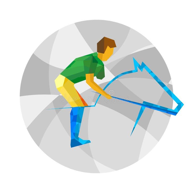 Cavaleiro fisicamente deficiente com testes padrões abstratos Esporte liso ilustração royalty free