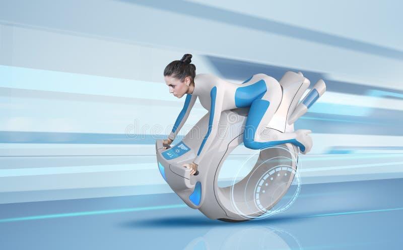 Cavaleiro futuro atrativo da bicicleta ilustração do vetor