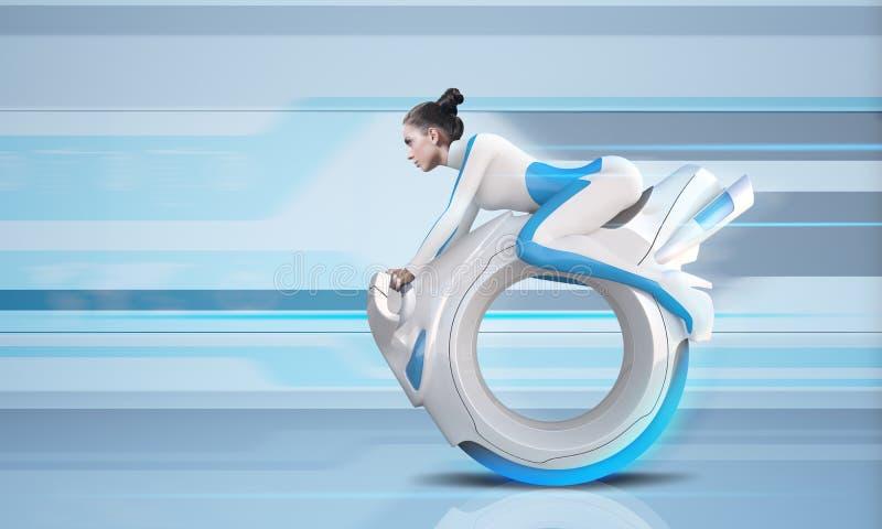 Cavaleiro futuro atrativo da bicicleta foto de stock royalty free