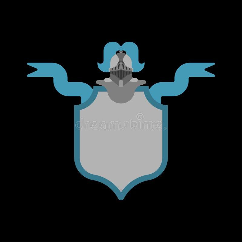 Cavaleiro Helmet Heraldic Shield Elemento do projeto da heráldica do molde ilustração do vetor