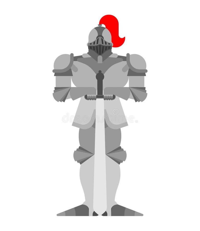 Cavaleiro isolado Guerreiro da armadura do metal Armadura do ferro Placa e swor ilustração do vetor