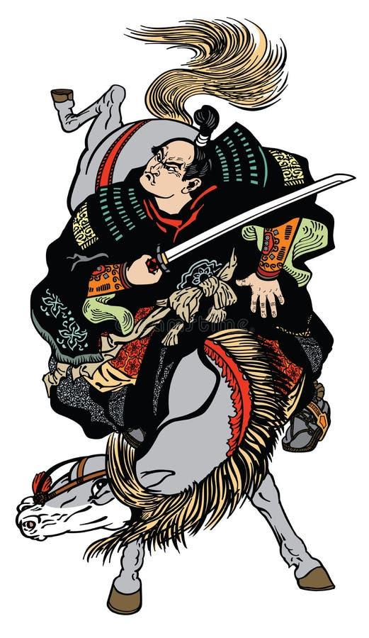 Cavaleiro japonês do samurai com espada ilustração stock