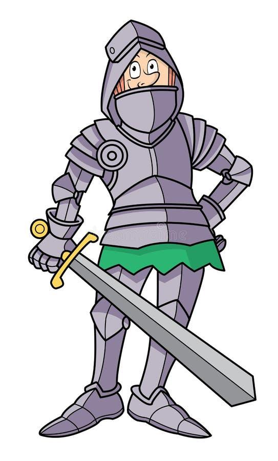 Cavaleiro magro dos desenhos animados na armadura ilustração royalty free