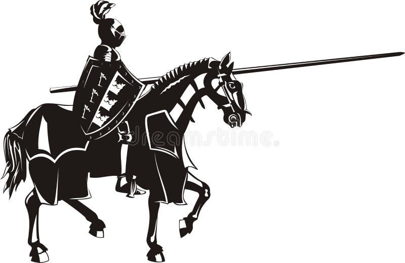 Cavaleiro medieval a cavalo ilustração royalty free
