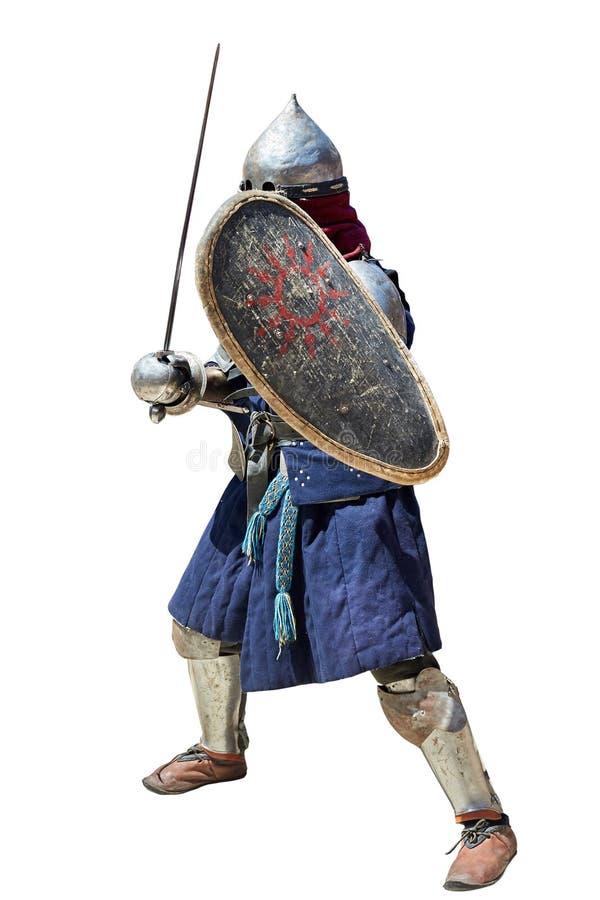 Cavaleiro medieval com a espada e o protetor imagens de stock