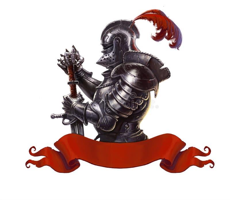 Cavaleiro medieval com o realístico longo da espada isolado ilustração stock
