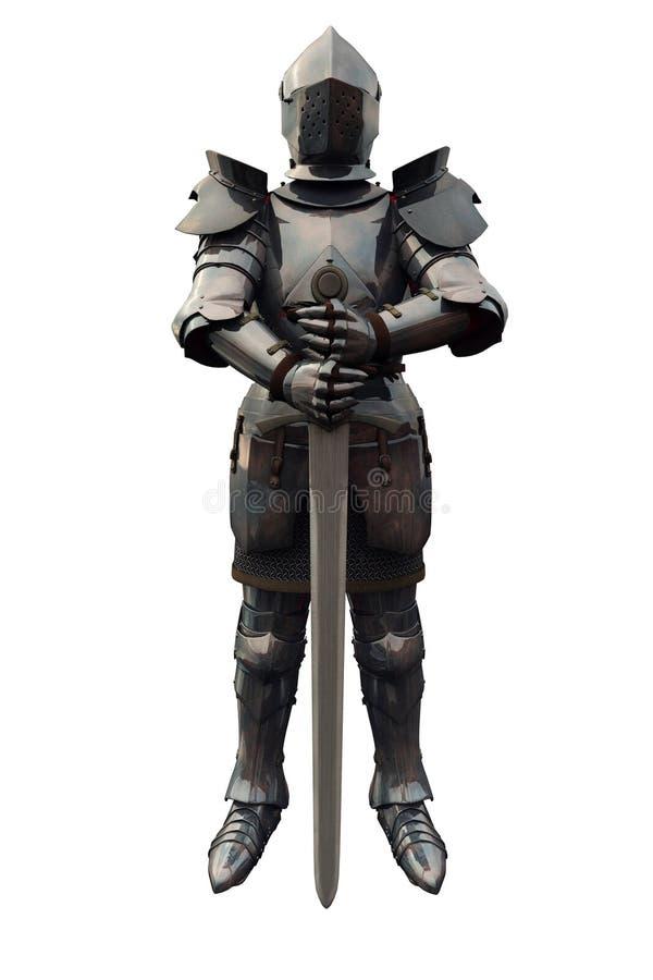 Cavaleiro medieval do décimo quinto século com espada ilustração stock