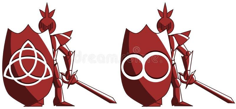 Cavaleiro medieval estilizado com símbolo da infinidade e do triquetra ilustração royalty free