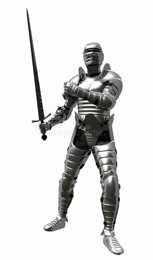 Cavaleiro medieval na armadura de brilho - parte traseira da espada ilustração stock