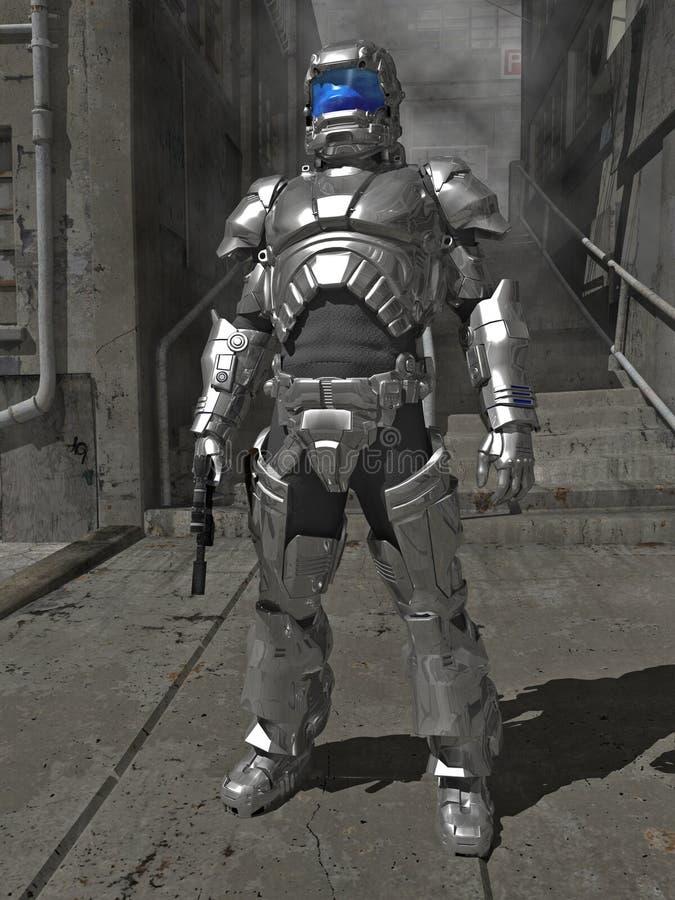 Cavaleiro na armadura de brilho do espaço ilustração royalty free