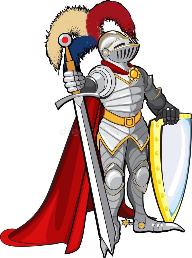 Cavaleiro na armadura do brilho ilustração royalty free