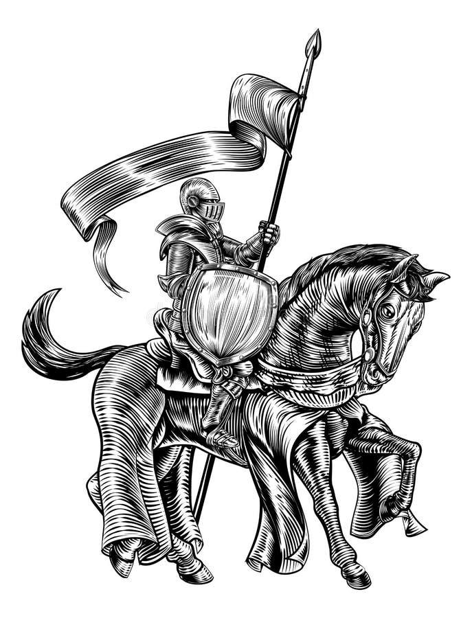 Cavaleiro na gravura do bloco xilográfico do vintage do cavalo ilustração stock