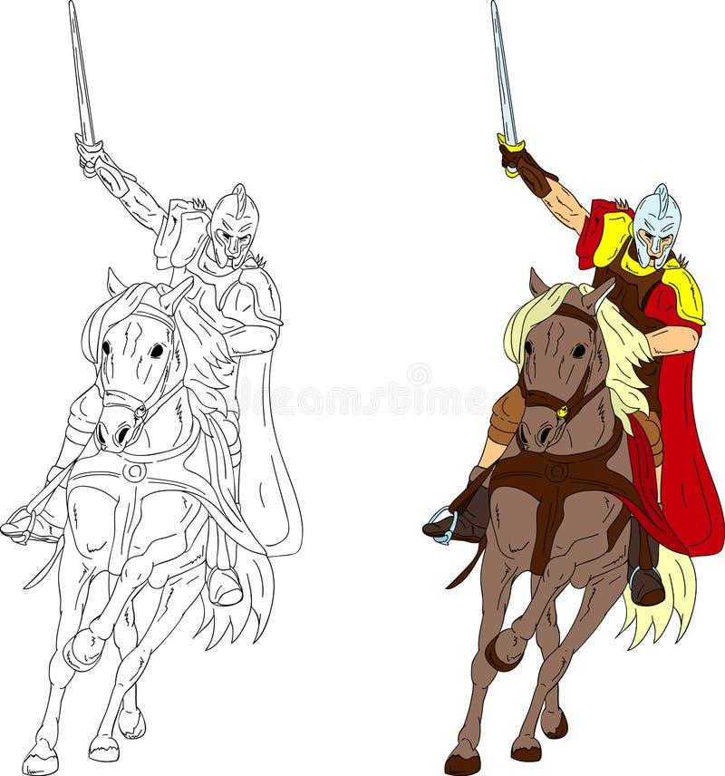 Cavaleiro no cavalo ilustração stock