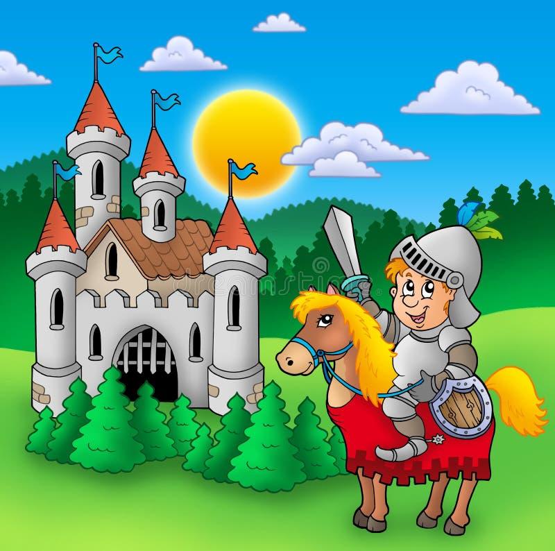 Cavaleiro no cavalo com castelo velho ilustração do vetor
